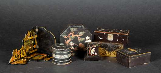 Lot of Seven Chinese Lacquer Ware Objects