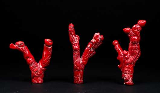 Three Chinese Carved Branch Red Coral