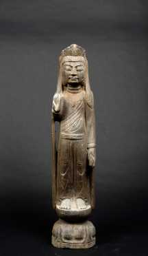 "Chinese ""Kwan-Yin"" Veined Gray Stone Figure"