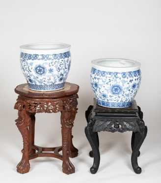 Lot of Chinese Low Tables and Porcelain Jardinieres