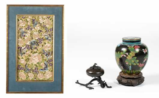 Chinese Grouping of Cloisonne, Bronze and Needlework Items