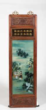 Chinese Hanging Panel with Reverse Painting Country Scene