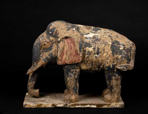 Asian Carved and Painted Elephant Figure