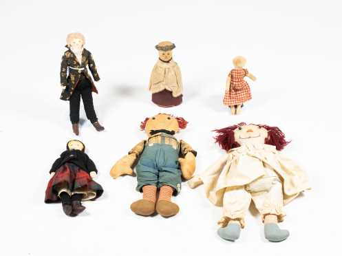 Five Rag Dolls and One Bottle Doll