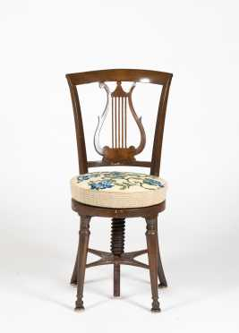 19thC French Lyre Back Music Chair