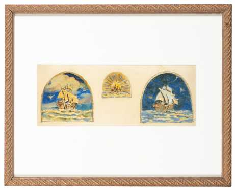 After Barry Faulkner Ship Triptych
