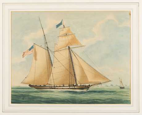 American Watercolor Painting of 19thC Schooner *AVAILABLE FOR REASONABLE OFFERS*