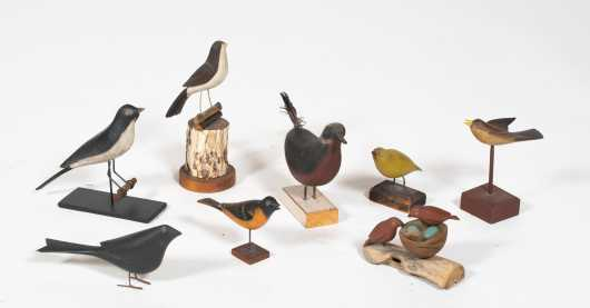 Eight Painted Miniature Songbirds