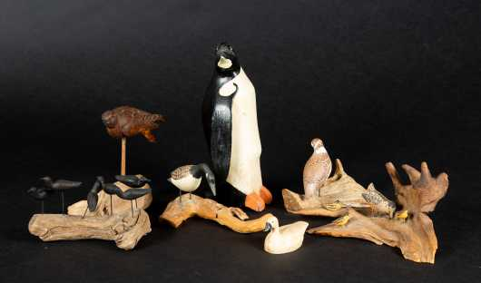 "Six Painted Miniature Birds Plus 10 1/2"" Penguin"