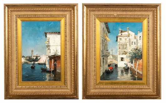 Pair of Venetian Paintings, Ferdinando Chevrier, Italy (1920-2006) Attributed