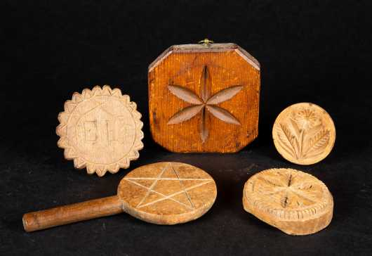 Five Carved Wooden Butter Stamps