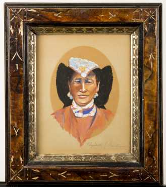 Elizabeth Sabin Goodwin (born 1904), Mixed Media Portrait, c.1930's, Southwest