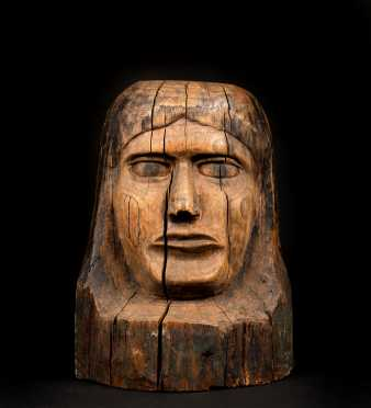 Native American Carved Wooden Bust of Woman