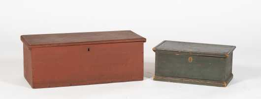 Two Pine Painted Boxes