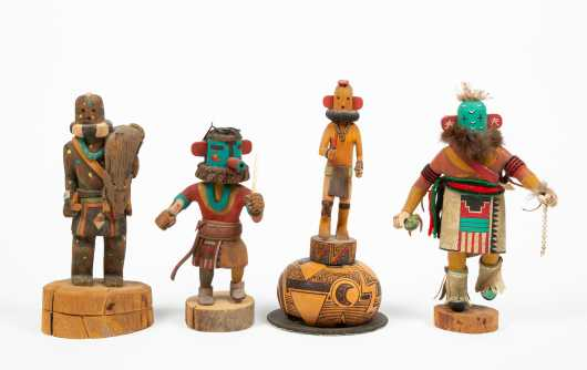 Collection of Four Modern Kachina Dolls