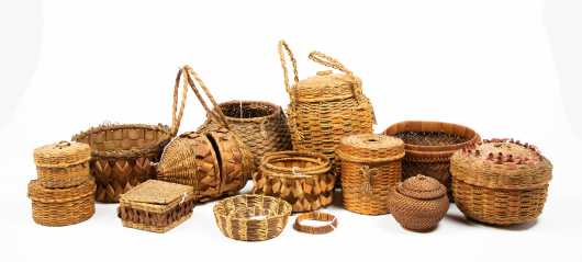 Collection of Twelve Old Native American Baskets