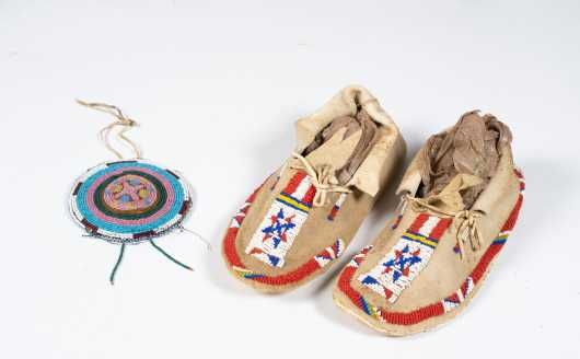 Beaded Native American Roundel Pouch and Pair of Moccasins