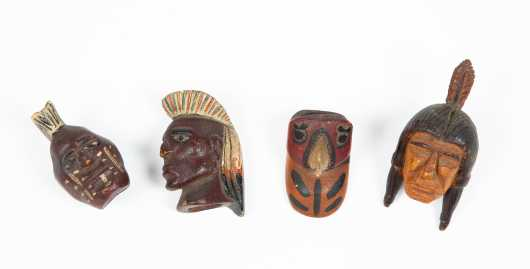 Four Native American 20thC Painted Necklace Figure