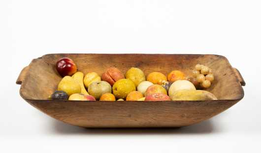 Twenty Four Pieces of Stone Fruit in an Old Surface Handled Wooden Trencher