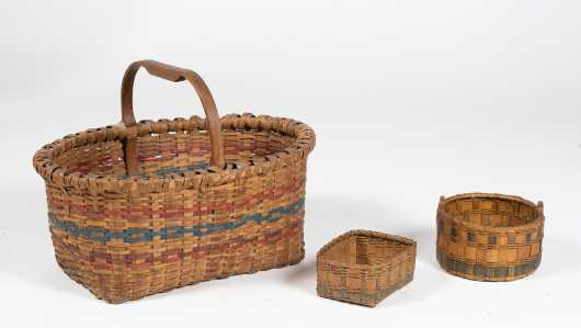 Three Native American Splint Baskets