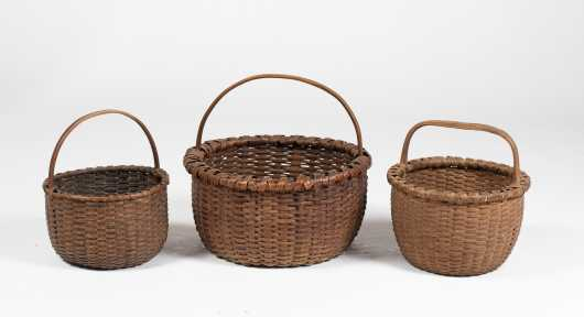 Three Handled Splint Baskets