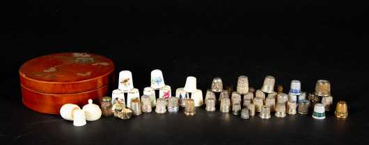 A Large Collection of Gold, Silver and other Thimbles