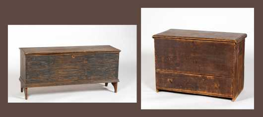 Two Early Pine Blanket Chests