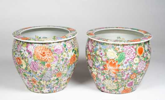 Pair of Chinese Porcelain Fishbowl Planters