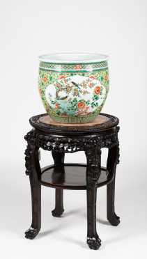 Chinese Marble Top Table and Export Porcelain Planter