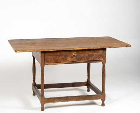 New England 18thC Stretcher Base Tavern Table