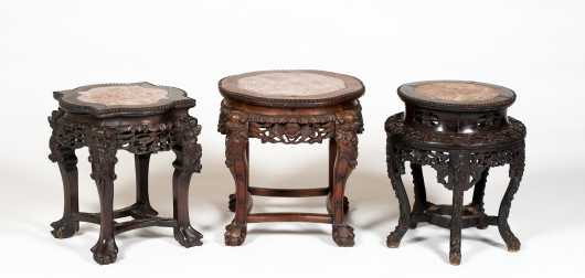 Three Chinese Marble Top Carved Stands
