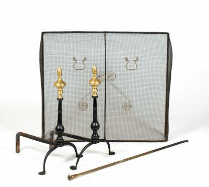 Pair of Queen Anne Style Iron Andirons