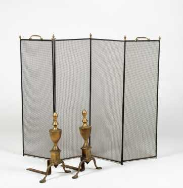 Pair of Brass Urn Top Andirons *AVAILABLE FOR REASONABLE OFFERS*