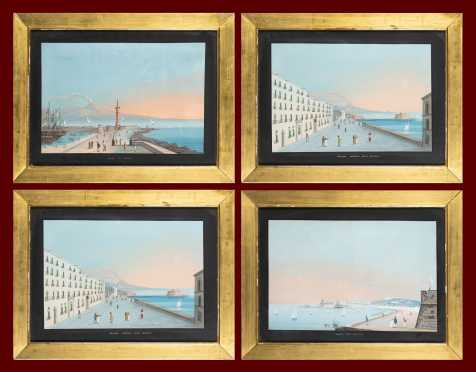 Set of Four Italian Gouache Paintings