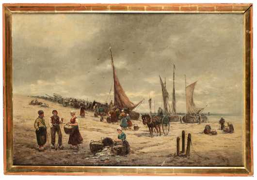 19th/20thC Dutch Seacoast Painting