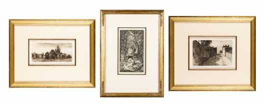 Three Continental Etchings Beautifully Framed