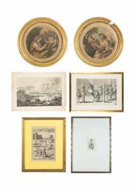 Three Engravings/ Etchings of 16thC Scenes and Three Additional Prints