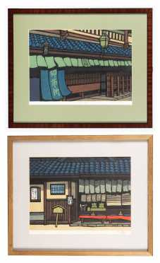 Pair of 20thC Japanese Block Prints by Katsuyok Nishijima