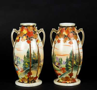 "Pair of ""Nippon"" Decorated Vases"