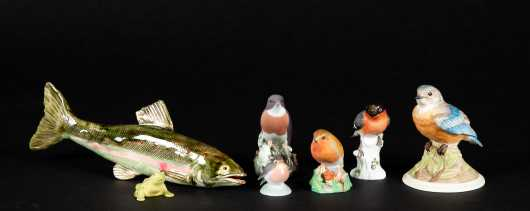 Collection of Porcelain Birds and a Fish