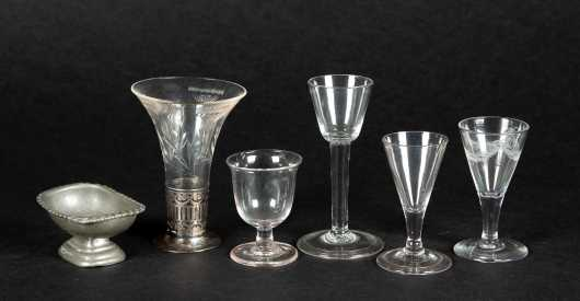 Five Early Cordial Glasses and a Pewter Footed Salt
