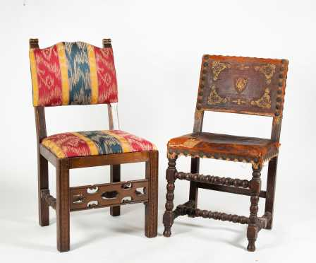 Two Jacobean Style Side Chairs