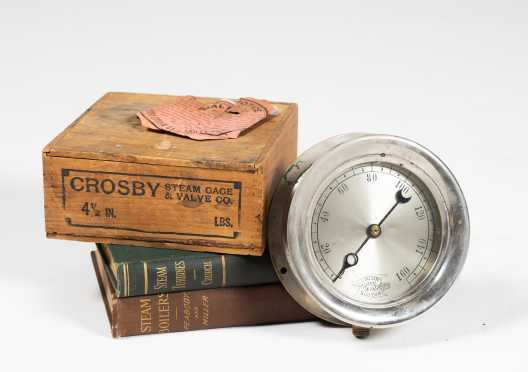 """Crosby"" Steam Gauge and Two Steam Turbine Books *AVAILABLE FOR REASONABLE OFFERS*"