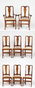 Set of Eight Mahogany Queen Anne Style Dining Chairs