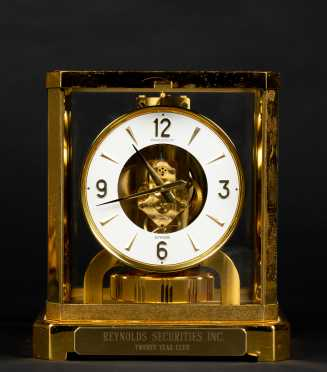 Atmos Brass and Glass Shelf Clock