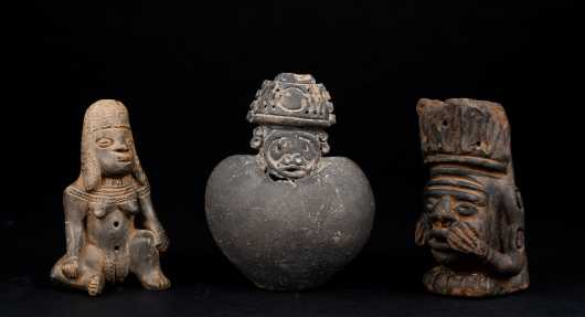 Three Pre Columbian Figural Objects *AVAILABLE FOR REASONABLE OFFERS*