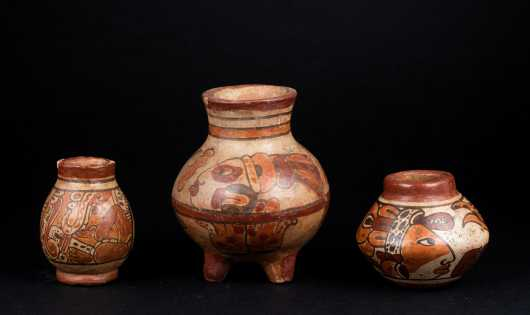 Three Small Pre Columbian Painted Mayan Pots