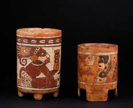 Two Pre Columbian Painted Mayan Pots
