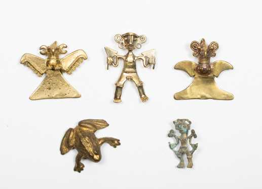 Five Small Pre Columbian Gold Amulets, Tairona