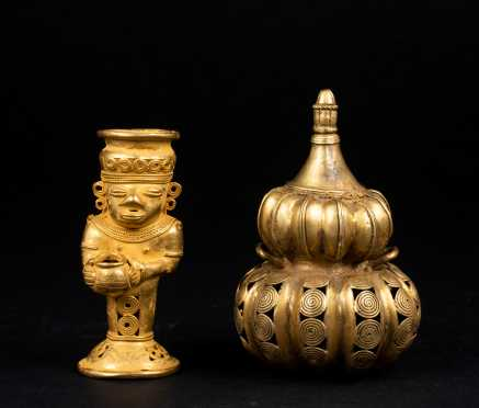 Two Pre Columbian Gold Objects, Tairona